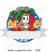 Logo Vector of a Happy Cute Palm Tree Mascot Cartoon Character on an American Business Logo by Toons4Biz