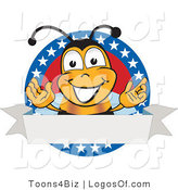 Logo Vector of a Happy Gesturing Bee and American Circle with Banner by Toons4Biz