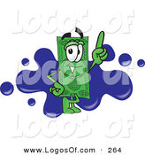Logo Vector of a Happy Green Dollar Bill Mascot Cartoon Character Pointing Upwards and Standing in Front of a Blue Paint Splatter on a Business Logo by Toons4Biz