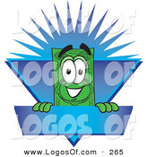 Logo Vector of a Happy Grinning Dollar Bill Mascot Cartoon Character on a Blank Blue Label with a Burst by Toons4Biz