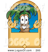 Logo Vector of a Happy Grinning Palm Tree Mascot Cartoon Character on a Blank Tan Label by Toons4Biz