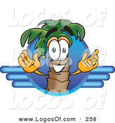Logo Vector of a Happy Grinning Palm Tree Mascot Cartoon Character on a Blue Travel Business Logo by Toons4Biz