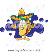 Logo Vector of a Happy Hispanic Taco Mascot Cartoon Character Standing in Front of a Blue Paint Splatter on a Business Logo by Toons4Biz