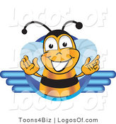 Logo Vector of a Happy Open Armed Bee and Blue Lines by Toons4Biz