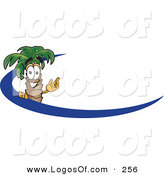 Logo Vector of a Happy Palm Tree Mascot Cartoon Character Waving and Standing Behind a Blue Dash on an Employee Nametag or Business Logo by Toons4Biz