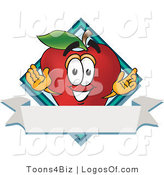 Logo Vector of a Happy Red Apple by Toons4Biz