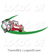 August 1st, 2012: Logo Vector of a Happy Red Lawn Mower Mascot Cartoon Character Facing Front on a Logo or Nametag with a Green Dash by Toons4Biz