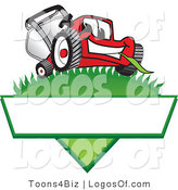 August 15th, 2012: Logo Vector of a Happy Smiling Red Lawn Mower Mascot Cartoon Character on a Grassy Hill on a Blank Label by Toons4Biz