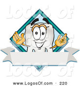 Logo Vector of a Happy Tooth Mascot Cartoon Character over a Blank White Banner on a Logo by Toons4Biz