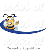 Logo Vector of a Happy Waving Bee and Blue Dash by Toons4Biz