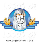 Logo Vector of a Happy White Salt Shaker Mascot Cartoon Character on a Blank Blue Business Logo by Toons4Biz