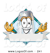 Logo Vector of a Happy White Salt Shaker Mascot Cartoon Character on a Blank Blue Label with a Banner and Diamond by Toons4Biz