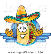Logo Vector of a Hispanic Smiling Taco Mascot Cartoon Character on a Blank Blue Logo by Toons4Biz