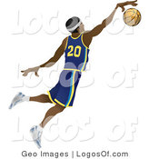 Logo Vector of a Jumping African American Basketball Player by AtStockIllustration