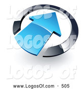 Logo Vector of a Large Blue Arrow Pointing Inwards in a Blue Circle by Beboy