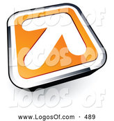 Logo Vector of a Large White Arrow on an Orange and Chrome Button by Beboy