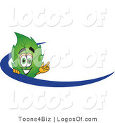 Logo Vector of a Leaf Logo Character Logo with a Blue Dash by Toons4Biz
