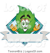 Logo Vector of a Leaf Logo Character with a Diamond and Blank Ribbon Label by Toons4Biz