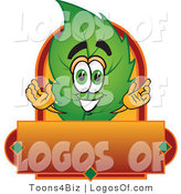 Logo Vector of a Leaf Logo Character with a Red and Orange Label by Toons4Biz