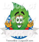 Logo Vector of a Leaf Logo Character with Stars and a Blank Label by Toons4Biz