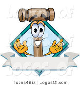 Logo Vector of a Logo Mallet Mascot and Blank Banner by Toons4Biz