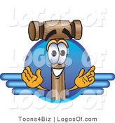 Logo Vector of a Logo Mallet Mascot and Blue Lines by Toons4Biz