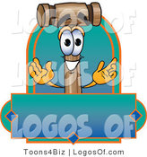 Logo Vector of a Logo Mallet Mascot and Gradient Label by Toons4Biz