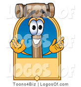Logo Vector of a Logo Mallet Mascot and Tan Label by Toons4Biz