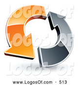 Logo Vector of a Pair of Orange and Chrome Arrow Circling Each Other by Beboy