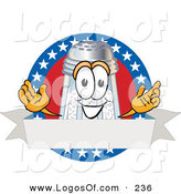 Logo Vector of a Patriotic Grinning Salt Shaker Mascot Cartoon Character over a Blank White Banner on an American Themed Logo by Toons4Biz
