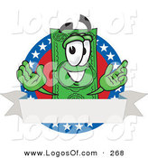 Logo Vector of a Patriotic Happy Dollar Bill Mascot Cartoon Character on an American Label with a Blank White Banner by Toons4Biz