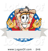 Logo Vector of a Patriotic Happy Pizza Mascot Cartoon Character over a Blank White Banner on an American Themed Business Logo by Toons4Biz