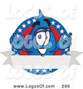 Logo Vector of a Patriotic Happy Water Drop Mascot Cartoon Character on an American Themed Logo by Toons4Biz