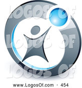 Logo Vector of a Person Reaching up to a Blue Ball Set in a Circle, Above Space for a Business Name and Company Slogan by Beboy