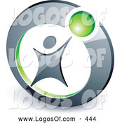 Logo Vector of a Person Reaching up to a Small Green Ball in a Circle, Above Space for a Business Name and Company Slogan by Beboy