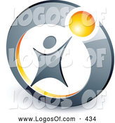 July 5th, 2013: Logo Vector of a Person Reaching up to a Yellow Ball Set in a Circle, Above Space for a Business Name and Company Slogan by Beboy