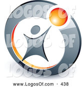 Logo Vector of a Person Reaching up to an Orange Ball Set in a Circle, Above Space for a Business Name and Company Slogan by Beboy