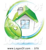 Logo Vector of a Pre-Made Company Logo of Dewy Green Leaf Circling a House with a Green Roof, with Space for a Business Name and Company Slogan Below on White by Beboy