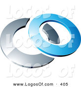 Logo Vector of a Pre-Made Logo of a Blue Shiny 3d Ring Intersecting a Chrome Circle, Above Space for a Business Name and Company Slogan by Beboy