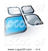 Logo Vector of a Pre-Made Logo of a Blue Square or Flower Petal Standing out from Gray Ones, with Space for a Business Name and Company Slogan Below by Beboy