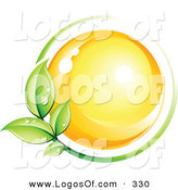 February 18th, 2013: Logo Vector of a Pre-Made Logo of a Bright Yellow Orb Circled by a Green Vine Above a Space for a Business Name and Company Slogan by Beboy
