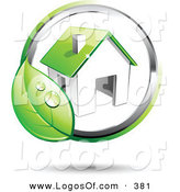 Logo Vector of a Pre-Made Logo of a Broad Circling Dewy Green Leaf Around a Home, with Space for a Business Name and Company Slogan to the Right by Beboy