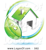 Logo Vector of a Pre-Made Logo of a Circling Dewy Green Leaf Around a House, with Space for a Business Name and Company Slogan Below on White by Beboy