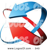 Logo Vector of a Pre-Made Logo of a Couple Blue and Red Arrows Circling, with Space for a Business Name and Company Slogan by Beboy