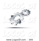 Logo Vector of a Pre-Made Logo of a Couple Shiny Silver Gears Above Space for a Business Name and Company Slogan by Beboy