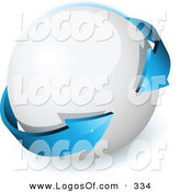 February 22nd, 2013: Logo Vector of a Pre-Made Logo of a Double Sided Blue Arrow Circling a White Orb, with Space for a Business Name and Company Slogan on White by Beboy