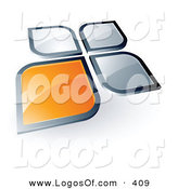 Logo Vector of a Pre-Made Logo of a Flower Shape with an Orange Square or Petal Standing out from Three Gray Ones, with Space for a Business Name and Company Slogan Below by Beboy