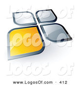 Logo Vector of a Pre-Made Logo of a Flower Shaped Yellow Square or Petal Standing out from Gray Ones, with Space for a Business Name and Company Slogan Below by Beboy
