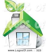 Logo Vector of a Pre-Made Logo of a Green House with Leaves Sprouting from the Chimney, with Space for a Business Name and Company Slogan over White by Beboy