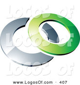 Logo Vector of a Pre-Made Logo of a Green Shiny 3d Ring over a Chrome Circle, Above Space for a Business Name and Company Slogan over White by Beboy